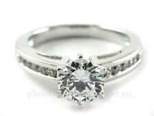 14K WHITE GOLD CHANNEL DIAMOND ENGAGEMENT RING SOLITAIRE SETTING