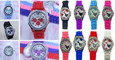 Montre silicone strass geneva femme homme watch couleur fashion neuf pas cher