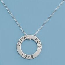 """Faith Love Hope Sterling Silver Circle Pendant with Necklace - 16"""" 18"""" 20"""" (317)"""