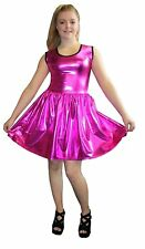 METALLIC SHINY PVC PINK BLACK GREASE WETLOOK ROCKABILLY SWING DRESS RAVE CYBER