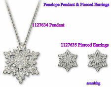Penelop 1127634 Pendant, 1127635 Pierced Earrings Snowflake Crystal Swarovski