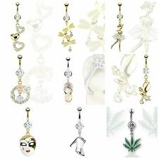Various Dangle Belly / Navel bars beautiful designs in Gold IP or Surgical Steel