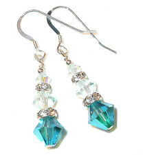 TEAL & LT AZORE BLUE Crystal Earrings Dangle Sterling Silver Swarovski Elements