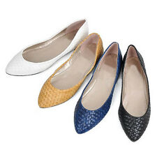 US5-9 woven pattern pointy toe ladiess ballet flats SLIP-ON causal shoes  [JG]