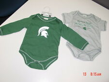 NWT Infant Toddler Boy 2 pc Michigan State Spartan Spartans Rompers Lansing Spor