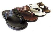 NEW MENS SHOES LEATHER SLIDES COMFORT FLAT TOE HOLD SANDALS-08205 / 4 COLOR
