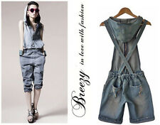 Women's Vintage Jeans Clamdiggers Denim Jumpsuit Shorts High-waist romper Pants