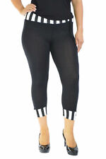 New Womens Cropped 3/4 Fashion Leggings Trousers Black Nouvelle Plus Size 12-26