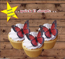 red edible wafer butterfly cupcake cake toppers wedding birthday DIY or PRE-CUT