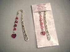 TIBETAN SILVER BOOKMARK MADE WITH SWAROVSKI CRYSTAL 10MM HEART IDEAL GIFT
