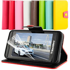 HYBRID STAND WALLET FLIP PU LEATHER CASE COVER For BlackBerry Z10 BB 10 + Film