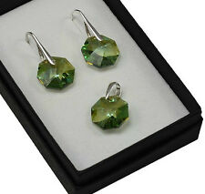 925 Silver Earrings Antique Green GSH 14mm Octagon - Crystals from Swarovski®