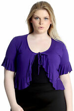 New Womens Front Tie Frill Shrug Top Bolero Cardigan Nouvelle Ladies Plus Size