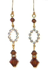 SMOKED TOPAZ Brown Earrings Long Drop Gold Swarovski Crystal Elements