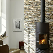 Stone Slate Reclaimed wall Brick Effect Wallpaper, Grey, Yellow & Beige Tones
