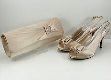 Shoes and Matching Bag Natural Satin Diamante Bow Peep Toe Sling back 3.5'' Heel
