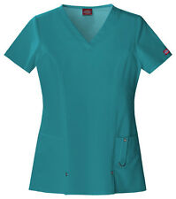 Scrubs Dickies Xtreme Stretch V- Neck Top 82851 Teal  FREE SHIPPING!