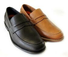 NEW MENS PENNY LOAFERS BOAT SLIP ON LEATHER LINED DRESS SHOE COMFORT / 2 COLORS