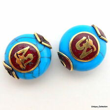 BD-25 Handmade Nepalese Tibetan Natural Turquoise Coral Brass Conch Shell Beads