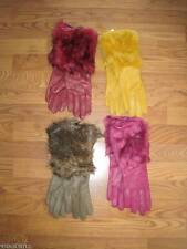 WOMENS~LADIES LEATHER/FAUX-FUR LONG CUFF GLOVES S~M~L~BURGUNDY~TAUPE~GOLD~NWT