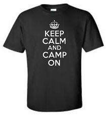 Keep Calm and Camp On Mens T-Shirt Outdoor Tent Camping Mens Tee More Colors