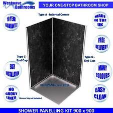 Shower Wall Panels - Complete Kit for 900 x 900 Shower - Various Colours