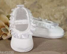 Girls Satin Christening Baptism Shoes Soft Sole w/ Pleated Trim Baby Shower 0-9M