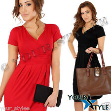 Women's Elegant Office Work Short Sleeve Stretch Dress Tunic V neck/ Plus Size