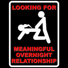 FUNNY T SHIRT LOOKING FOR MEANINGFUL OVERNIGHT RELATIONSHIP WANTED BUCKS NIGHT