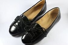 Womens Comfy Flats Casual 4 hole Shoelace Style Flat Shoes (Black)