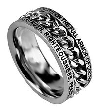 Christian Ring Silver Chain ARMOR OF GOD Scripture Mens Spirit & Truth BRAND NEW