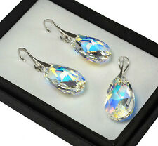 925 Silver Earrings/Set made with Swarovski Crystals Pear CRYSTAL AB 22mm