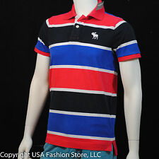 Abercrombie & Fitch Men's Polo Manches Courtes Red Blue Navy NWT