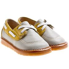 Boys Toddler Childrens Leather Squeaky Shoes - Grey & Yellow - Wide Fit