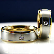 His Hers 3pcs Stainless Steel Mens Wedding & Womens Engagement Rings Set New
