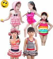 Grils Swimsuit Toddler Bathing Swimwear Tankini Bikini Sailor 2-8Y Free Hat New