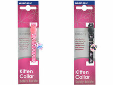 Ancol Kitten Collar with Safety Buckle Bell Luxury Collar black pink with Jewel