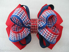 July 4th Patriotic Red White Blue Plaid Bling Hair Bow Clip Barrette or Headband