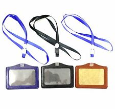 Leather ID Badge Holder Lanyard for ID Identity Security Cards Neck String Clip