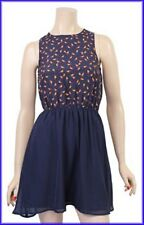 ***ladies women fashion bird print navy chiffon dress with elasticated waist***