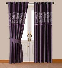 PURPLE COLOUR MODERN DAMASK DESIGN FAUX SILK RINGTOP EYELET LINED CURTAINS