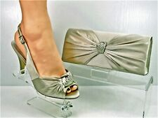 Shoes and Matching Bag Gold Champagne Satin Diamante Knot Detail 3.5'' Heel