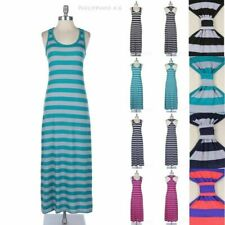 Striped Sleeveless Long Maxi Dress With Band Racerback