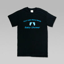 Personalized Baby Shower Blue Feet & Text T-Shirt | Men and Women Styles | S-4XL