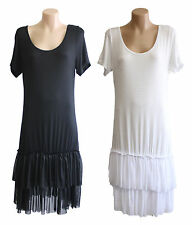 NEW FILO Short Sleeve Layering Tunic Dress Slip Tulle Hemline SIZE 8 10 12 14 16
