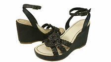 True Religion Womens Samantha Brown Leather Casual Platform Wedge Strappy Heels
