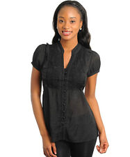 WOMEN'S BABYDOLL EMBROIDERED CHEST BUTTON DOWN TOP BLACK TEAL PINK NEW S-M-L