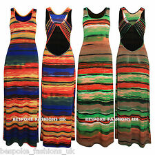 New Women's Motel Srappy Back Leona Multi Colour Bodycon Ladies Maxi Dress S,M,L