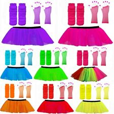 NEON TUTU SKIRT FISHNET GLOVES HEN NIGHT 1980'S LEGWARMERS 3 LAYER LADIES SKIRT
