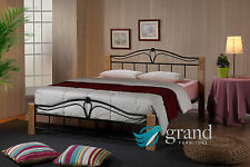 Thiago Contemporary Wooden Beech and Black Metal Bed Frame Bedroom Furniture